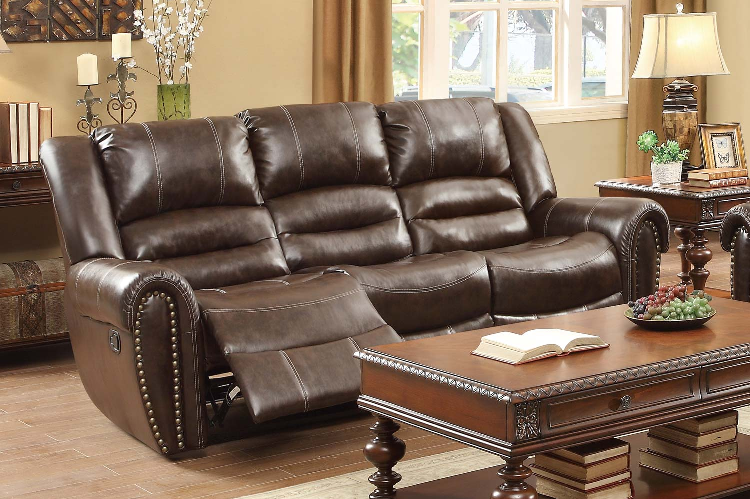 Double Reclining Sofa - Dark Brown Bonded leather Match 90 x 385 x