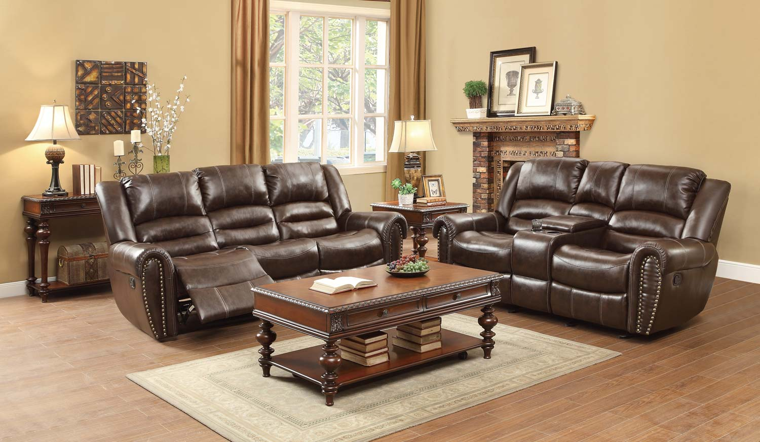 Homelegance Center Hill Reclining Sofa Set - Dark Brown Bonded Leather Match