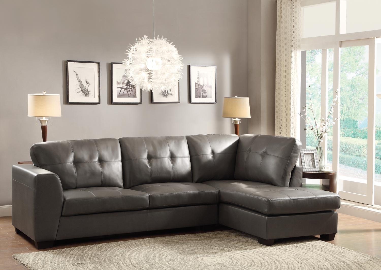 Homelegance Springer Sectional Sofa Grey Bonded