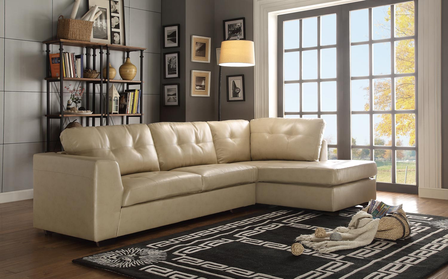 Homelegance Springer Sectional Sofa Taupe Bonded Leather Match