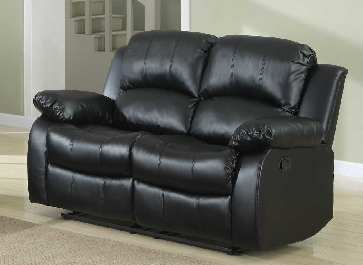 Homelegance Cranley Double Reclining Love Seat Black Bonded Leather 9700blk 2 At Homelement Com