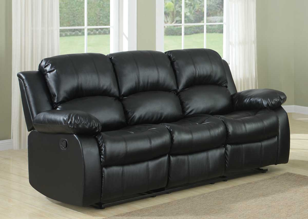 Homelegance Cranley Double Reclining Sofa Black Bonded