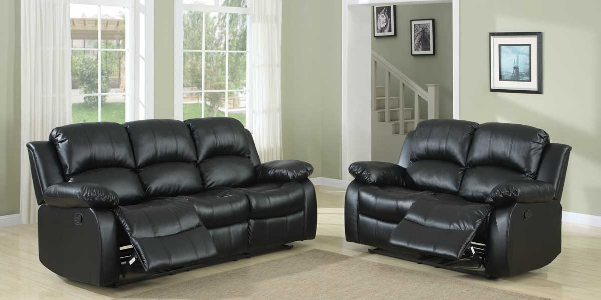 Homelegance Cranley Reclining Sofa Set - Black Bonded Leather