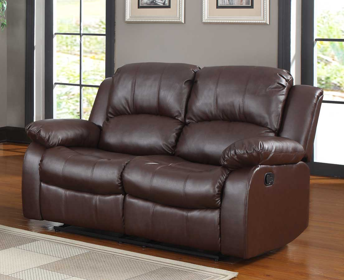Homelegance Cranley Double Reclining Love Seat - Brown Bonded Leather