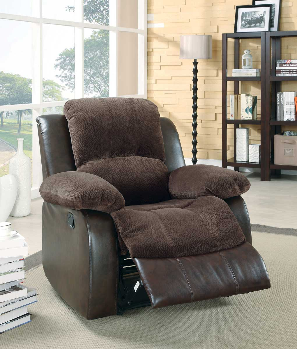 Homelegance Cranley Reclining Chair - Chocolate - Textured Plush Microfiber & Bi-Cast Vinyl