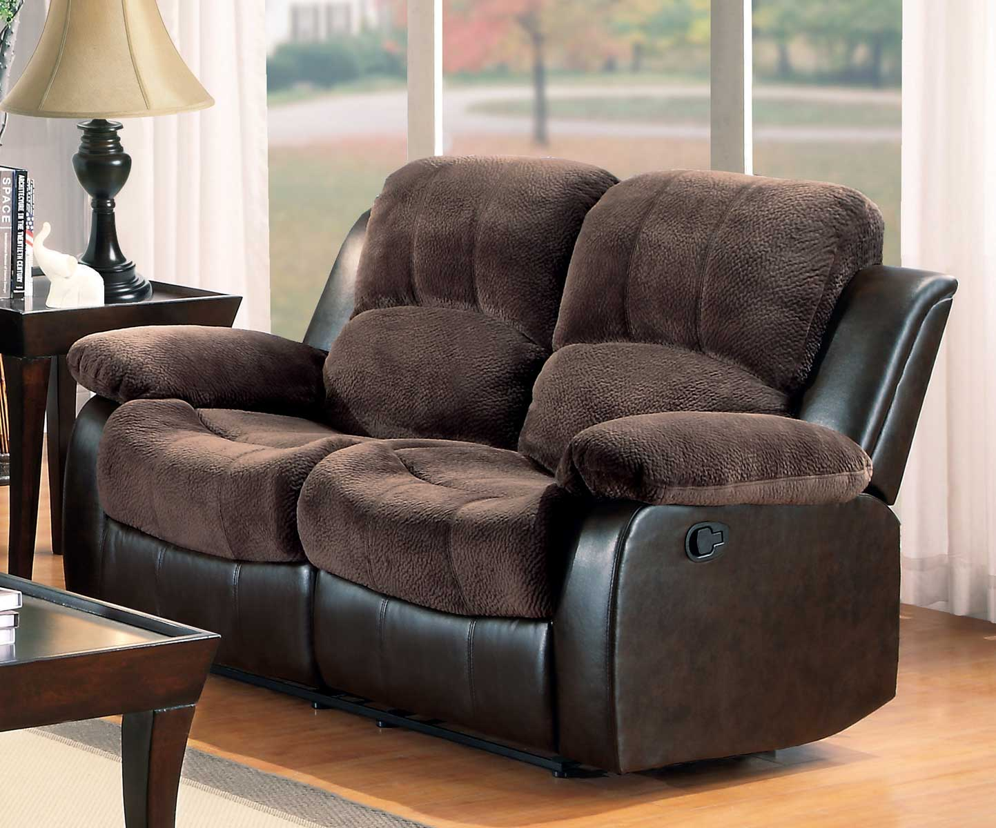 Homelegance Cranley Love Seat Dual Recliner Chocolate Textured Plush Microfiber Bi Cast