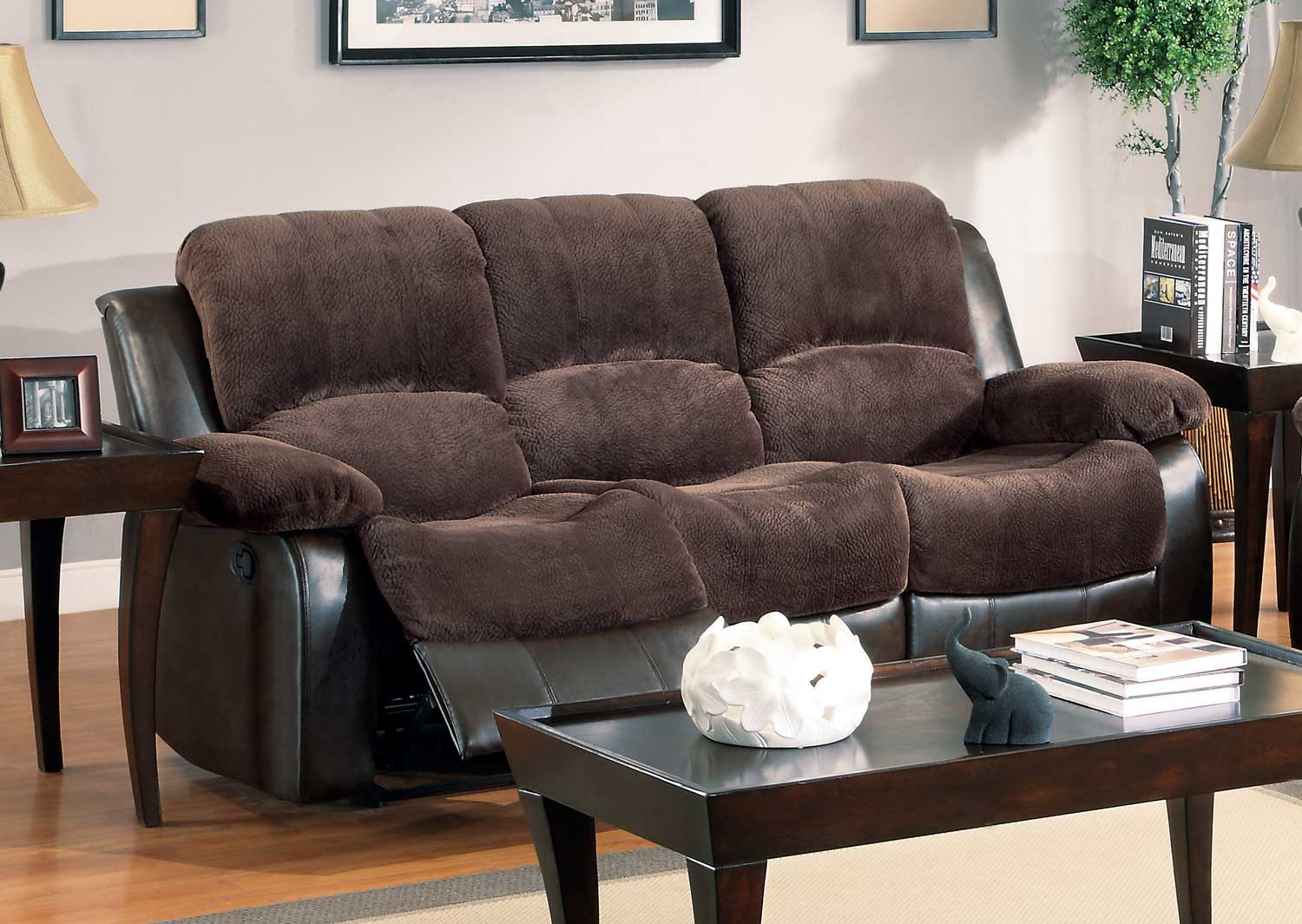 Homelegance Cranley Sofa Dual Recliner - Chocolate - Textured Plush Microfiber & Bi-Cast Vinyl