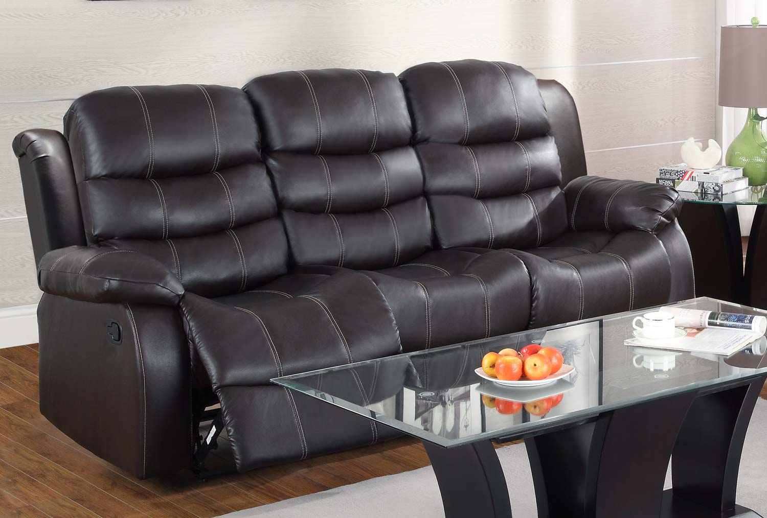 Learn more about Homelegance BRW Smithee Sofa Dual Recliner Dark Bonded Leather Match Product Photo
