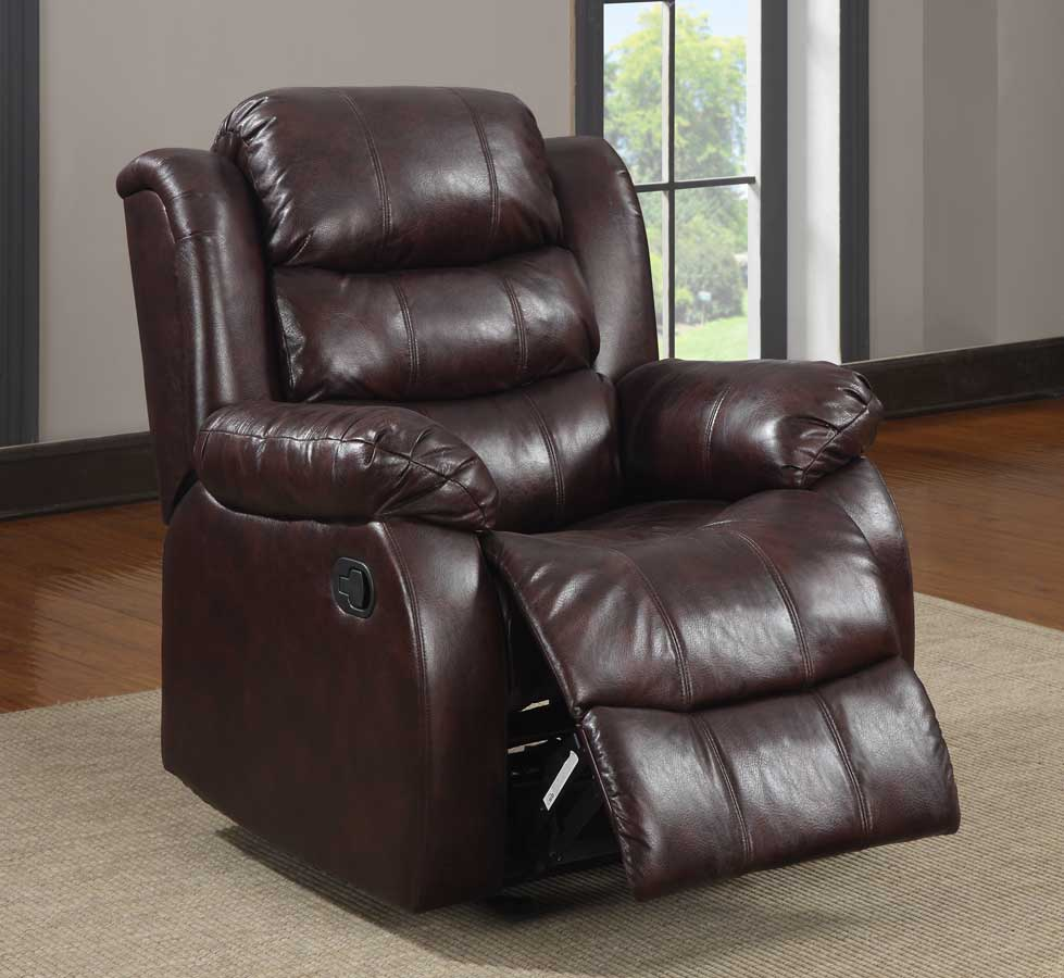 Reclining Chair Burgundy Polished Microfiber Leather Chairs Sectional