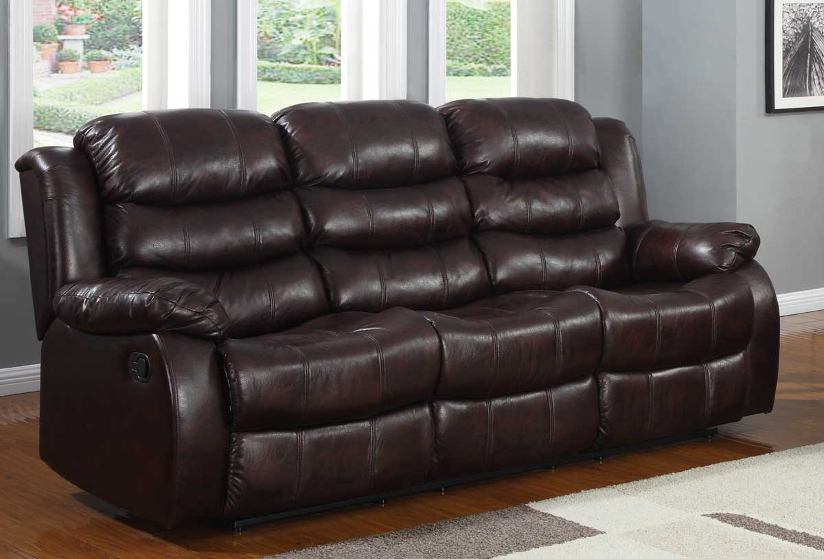 Smithee Double Reclining Sofa - Burgundy Polished Microfiber - Homelegance