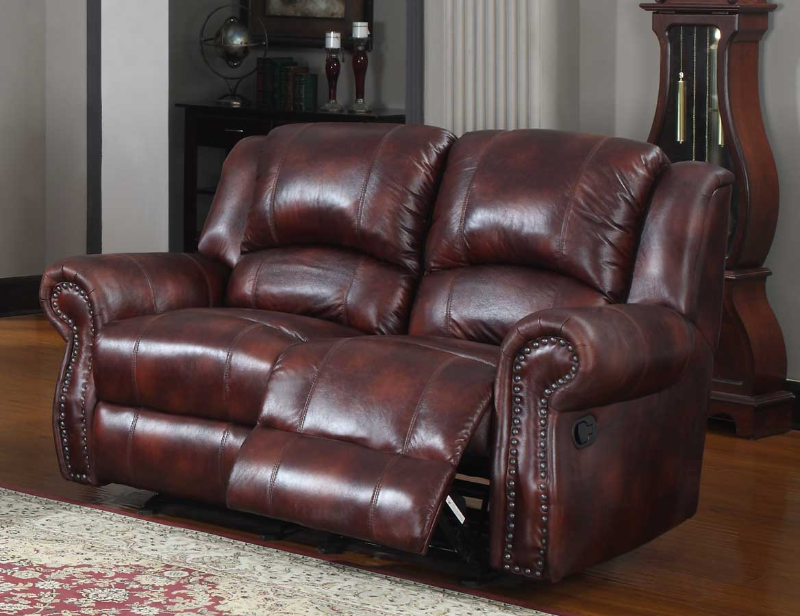 Homelegance Quinn Reclining Sofa Set Burgundy Polished