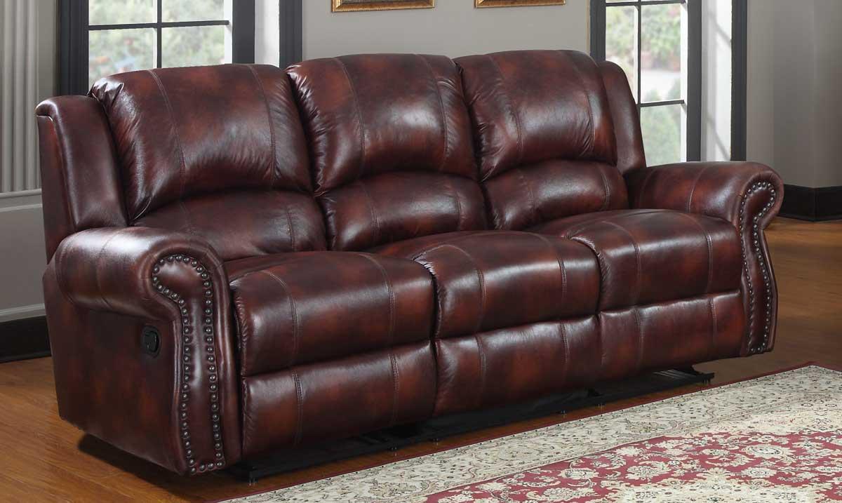 Homelegance Quinn Double Reclining Sofa - Burgundy Polished Microfiber
