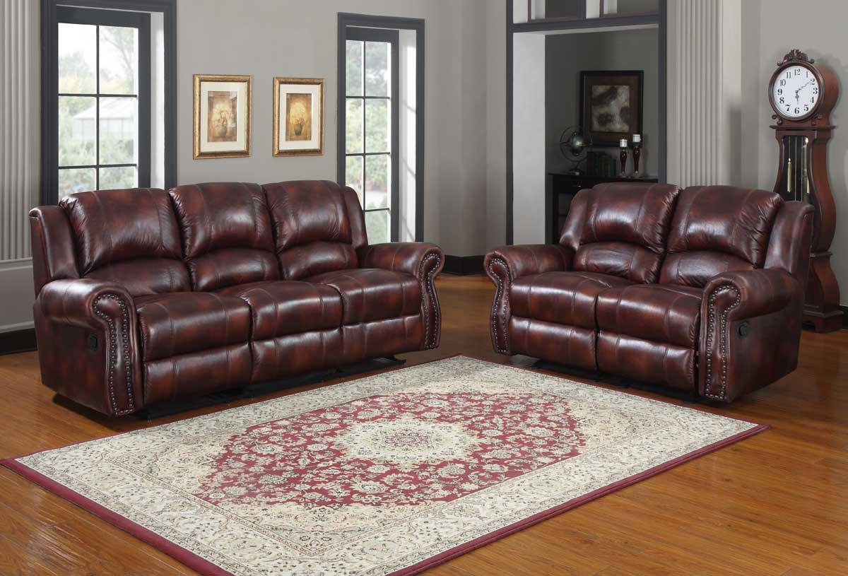Homelegance Quinn Reclining Sofa Set Burgundy Polished