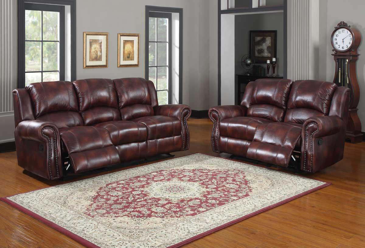 Quinn Reclining Sofa Set - Burgundy Polished Microfiber - Homelegance