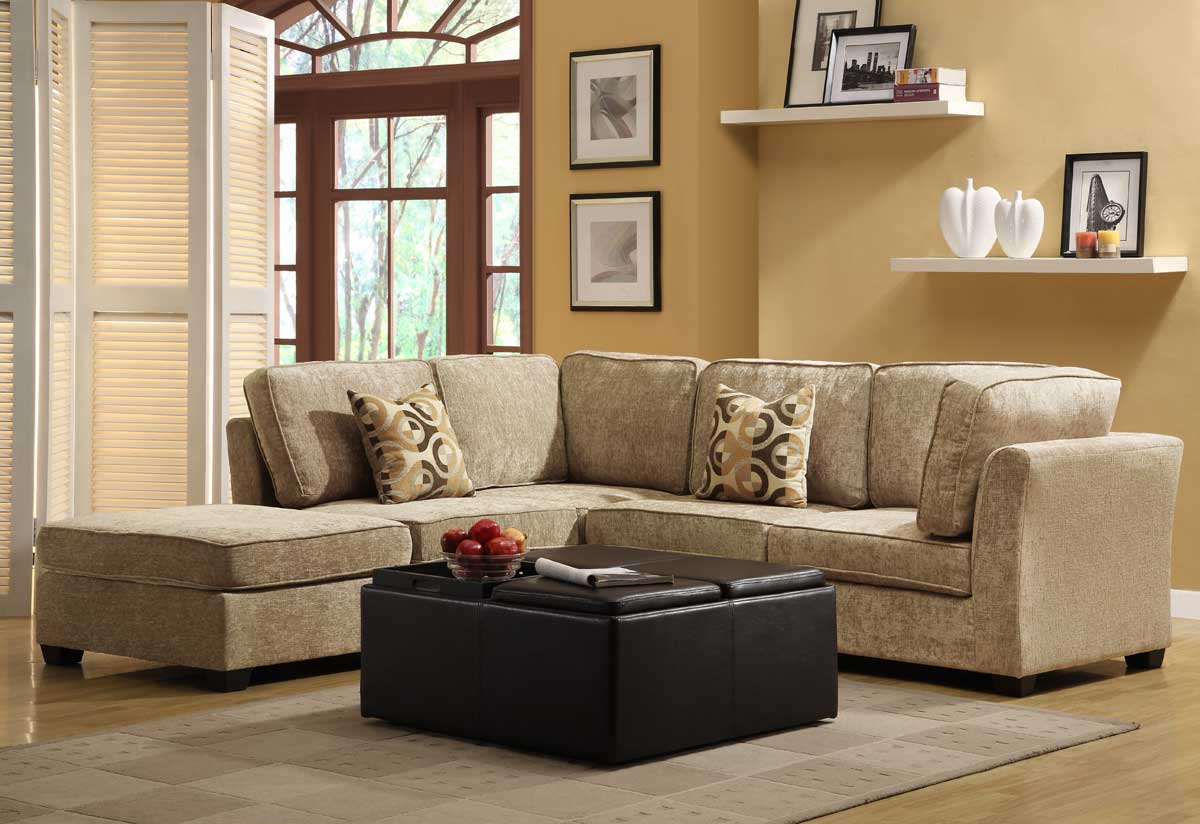 Homelegance burke sectional sofa set c brown beige chenille for Beige chenille sectional sofa