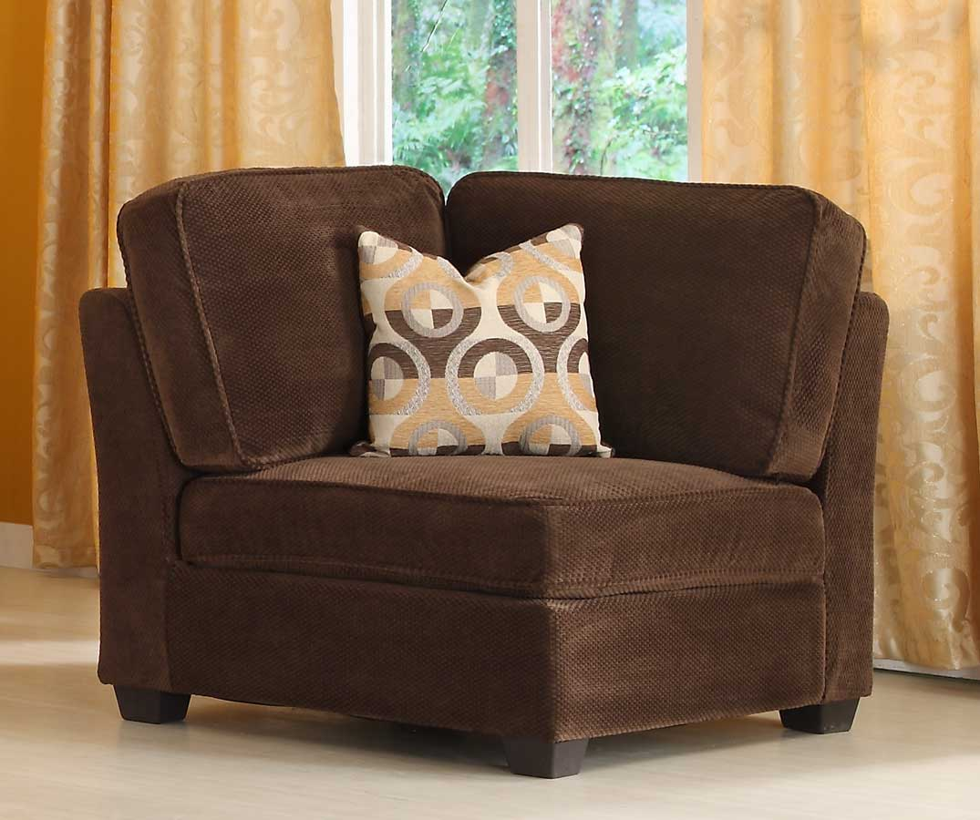 Burke Corner Seat - Dark Brown Fabric - Homelegance