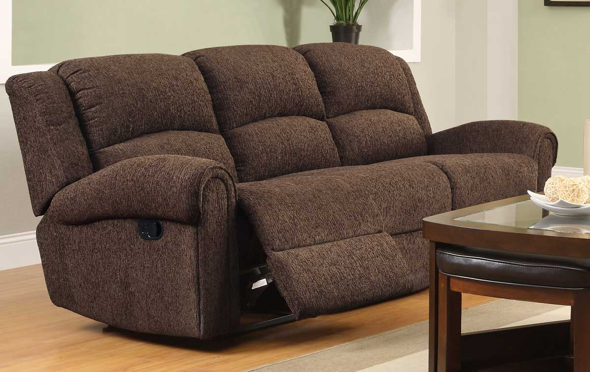 Homelegance Esther Double Reclining Sofa - Dark Brown Chenille