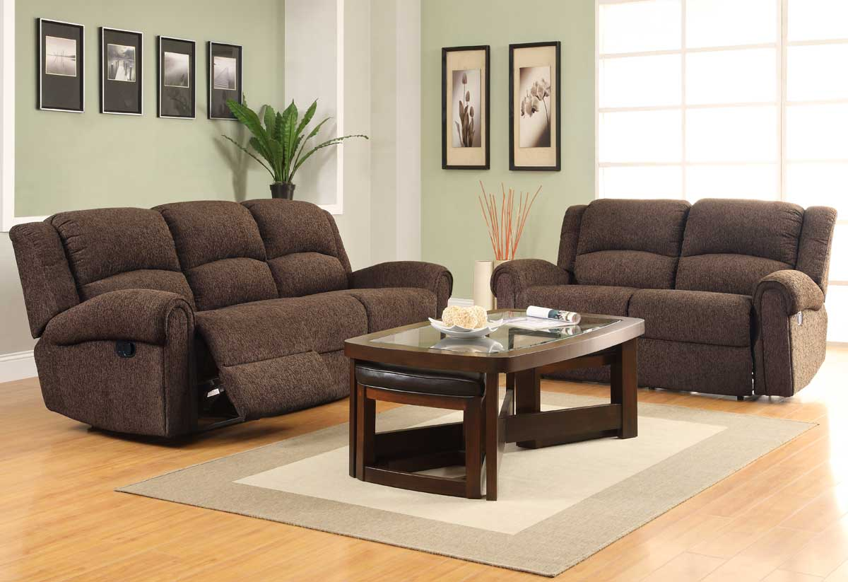homelegance esther reclining sofa set dark brown chenille u9712db 3 at. Black Bedroom Furniture Sets. Home Design Ideas