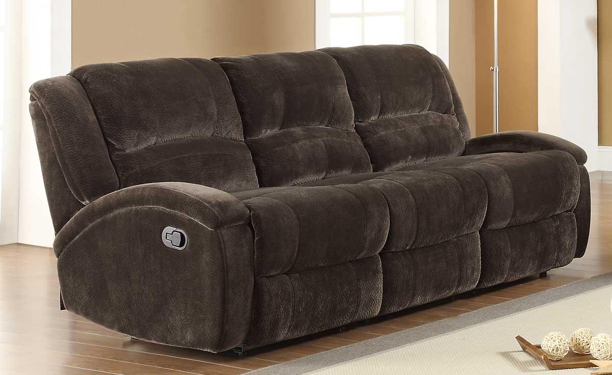 Homelegance alejandro double reclining sofa chocolate textured microfiber 9714 3 at - Sofa reclinable ...