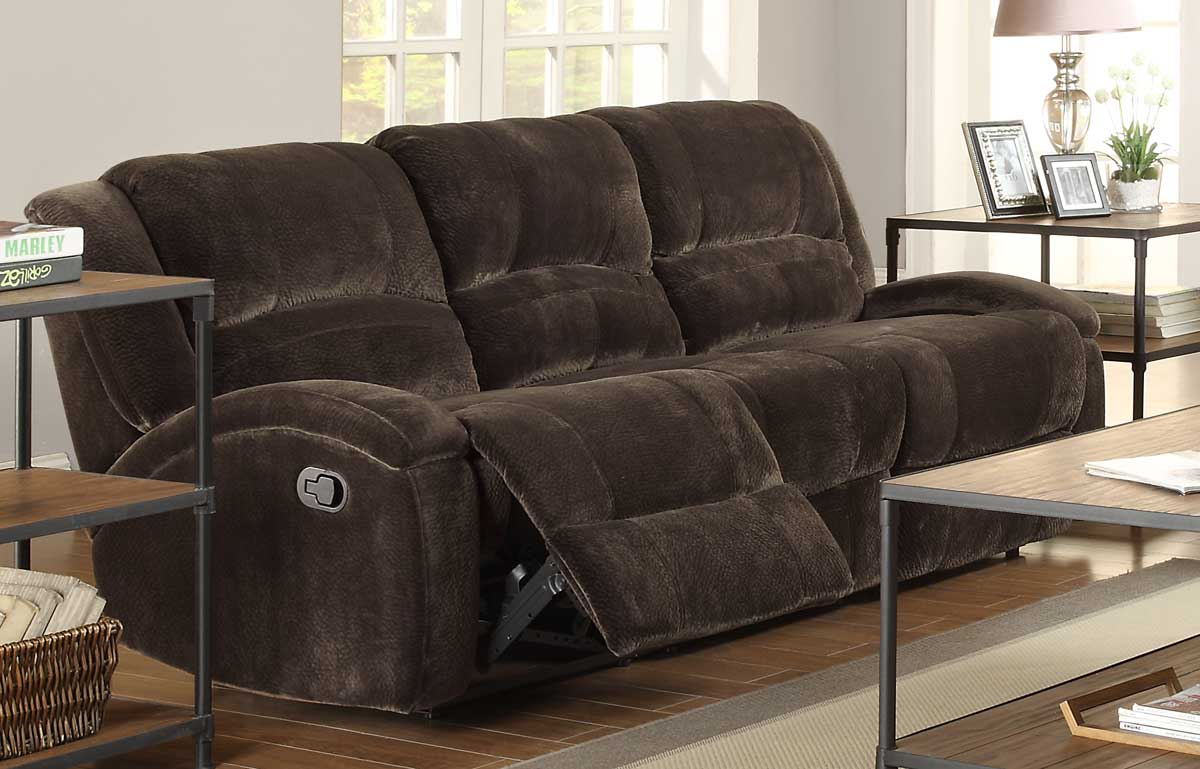 Homelegance Alejandro Double Reclining Sofa   Chocolate Textured Microfiber