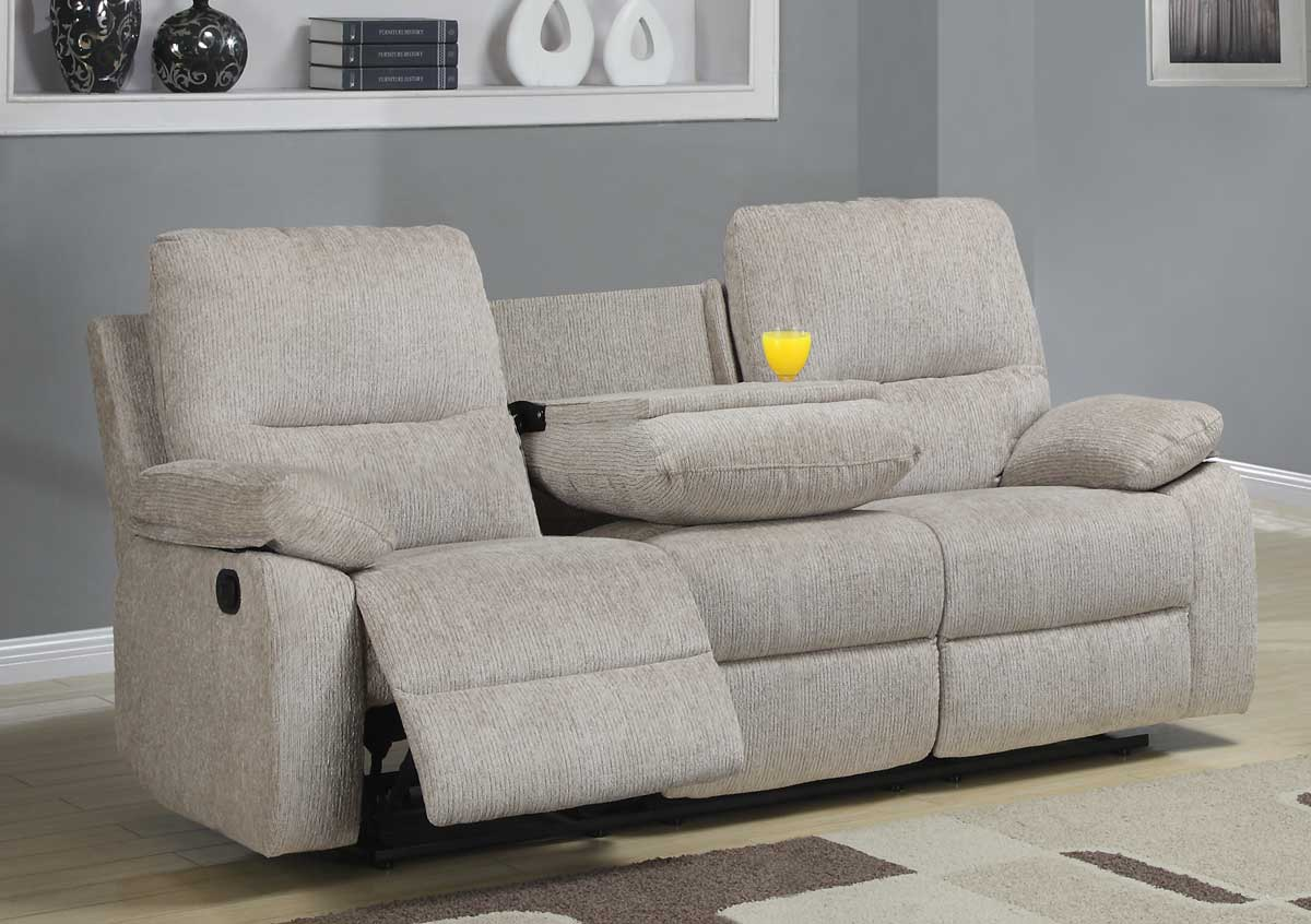 Superbe Homelegance Marianna Double Reclining Sofa With Center Drop Down Cup  Holders   Beige Chenille