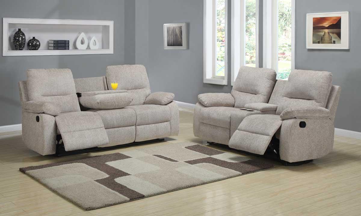 Homelegance Marianna Reclining Sofa Set Beige Chenille