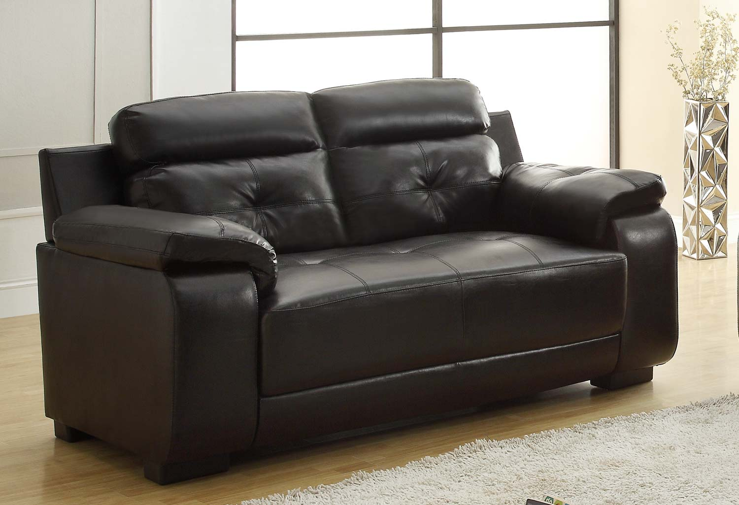 Homelegance Zane Love Seat  - Black - All Bonded Leather 9718BLK-2