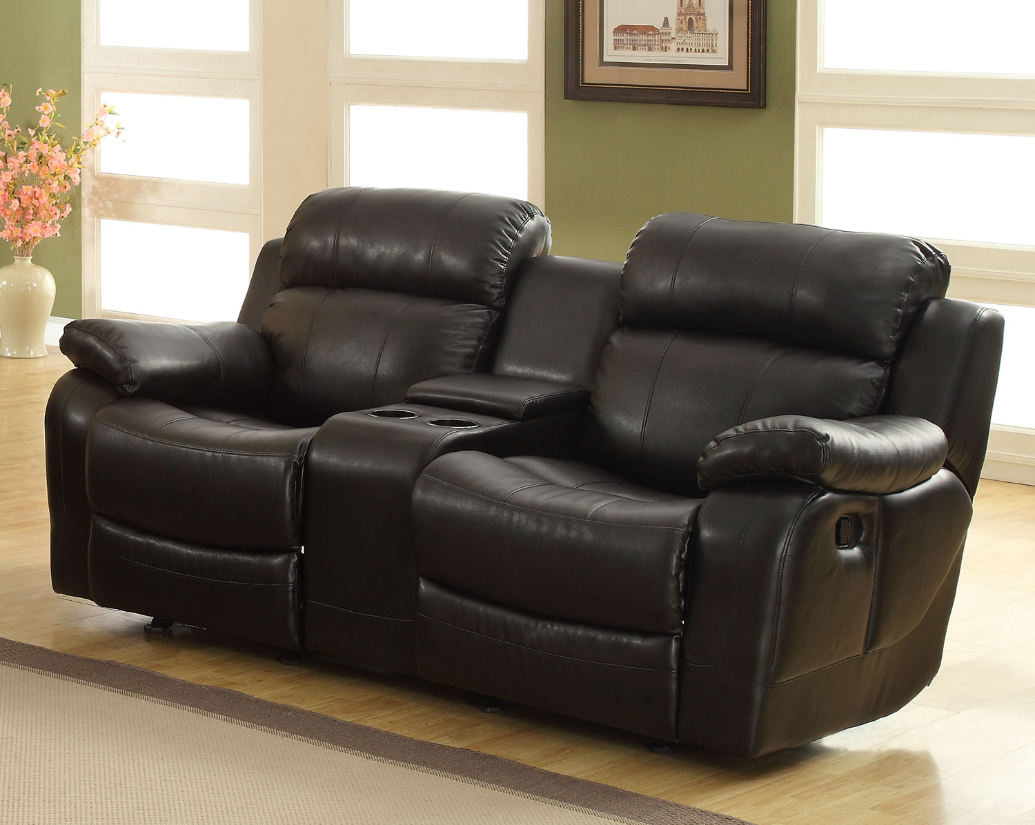 Homelegance Marille Love Seat Glider Recliner with Center Console - Black - Bonded Leather Match