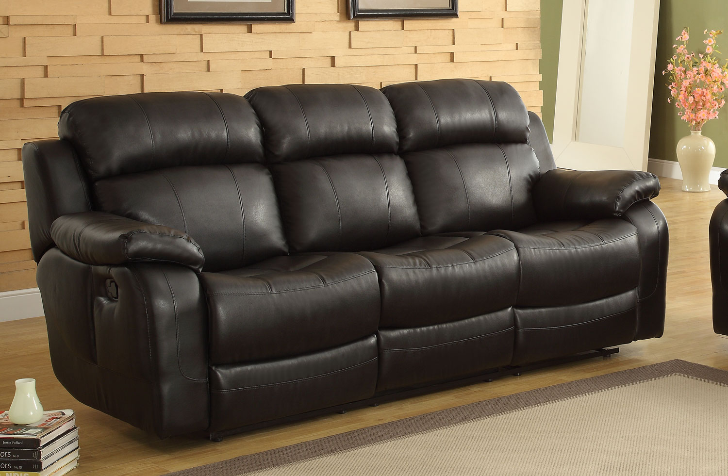 Homelegance Marille Recliner Sofa with Drop Center Cup Holder - Black - Bonded Leather Match