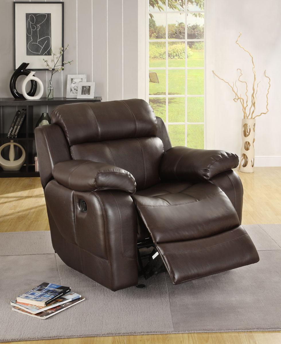 Homelegance Marille Chair Glider Recliner - Dark Brown - Bonded Leather Match