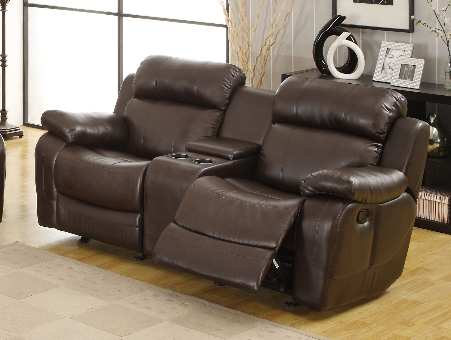 Marille Love Seat Glider Recliner with Center Console - Dark Brown - Bonded Leather Match