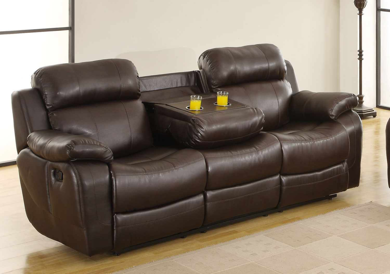 Homelegance Marille Sofa Recliner with Drop Cup Holder - Dark Brown -  Bonded Leather Match