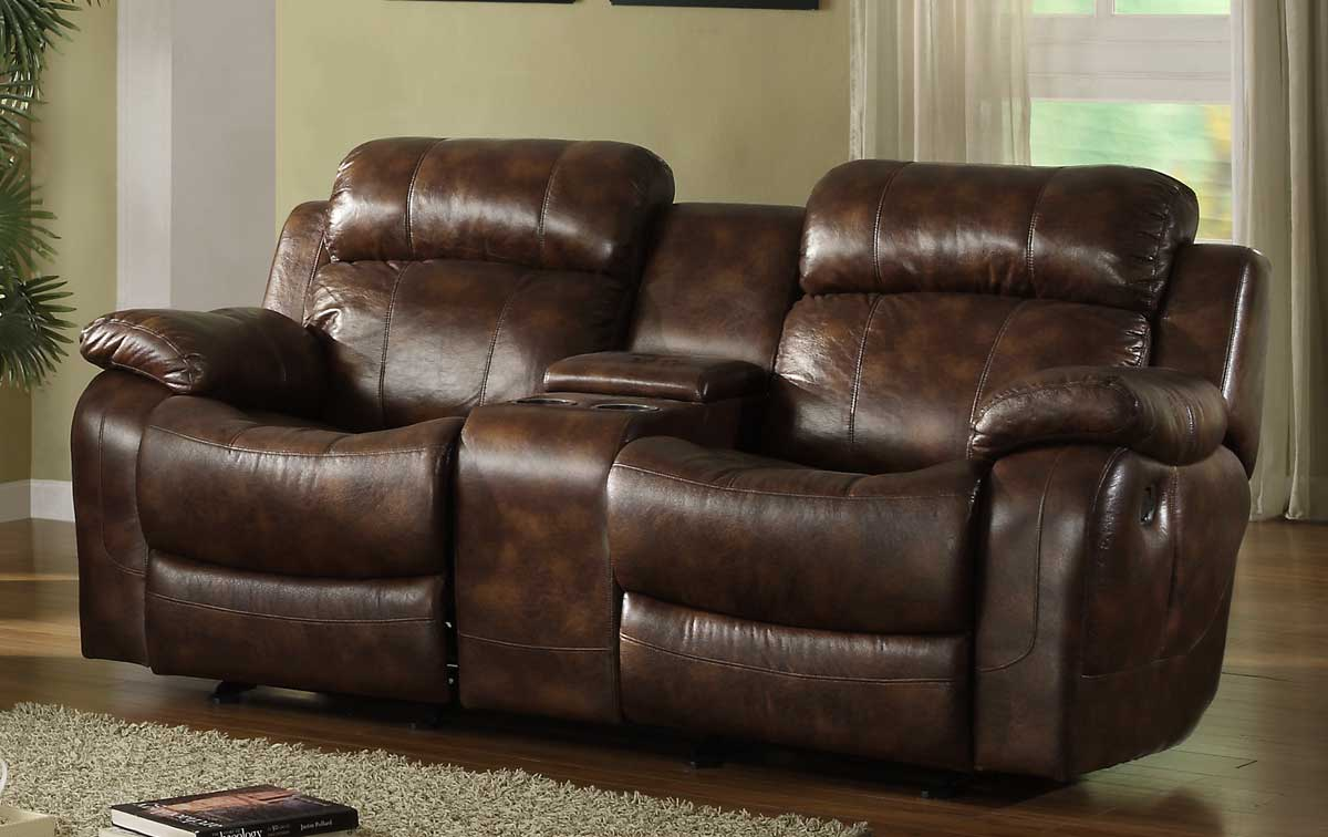 Homelegance Marille Rocking Reclining Loveseat In Warm Brown Leather Sectionals Sofas With