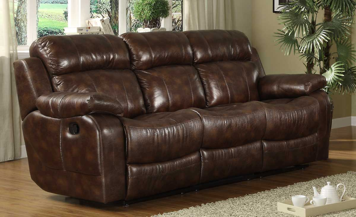 Homelegance marille double reclining sofa with center drop for Sectional recliner sofa with cup holders in chocolate microfiber