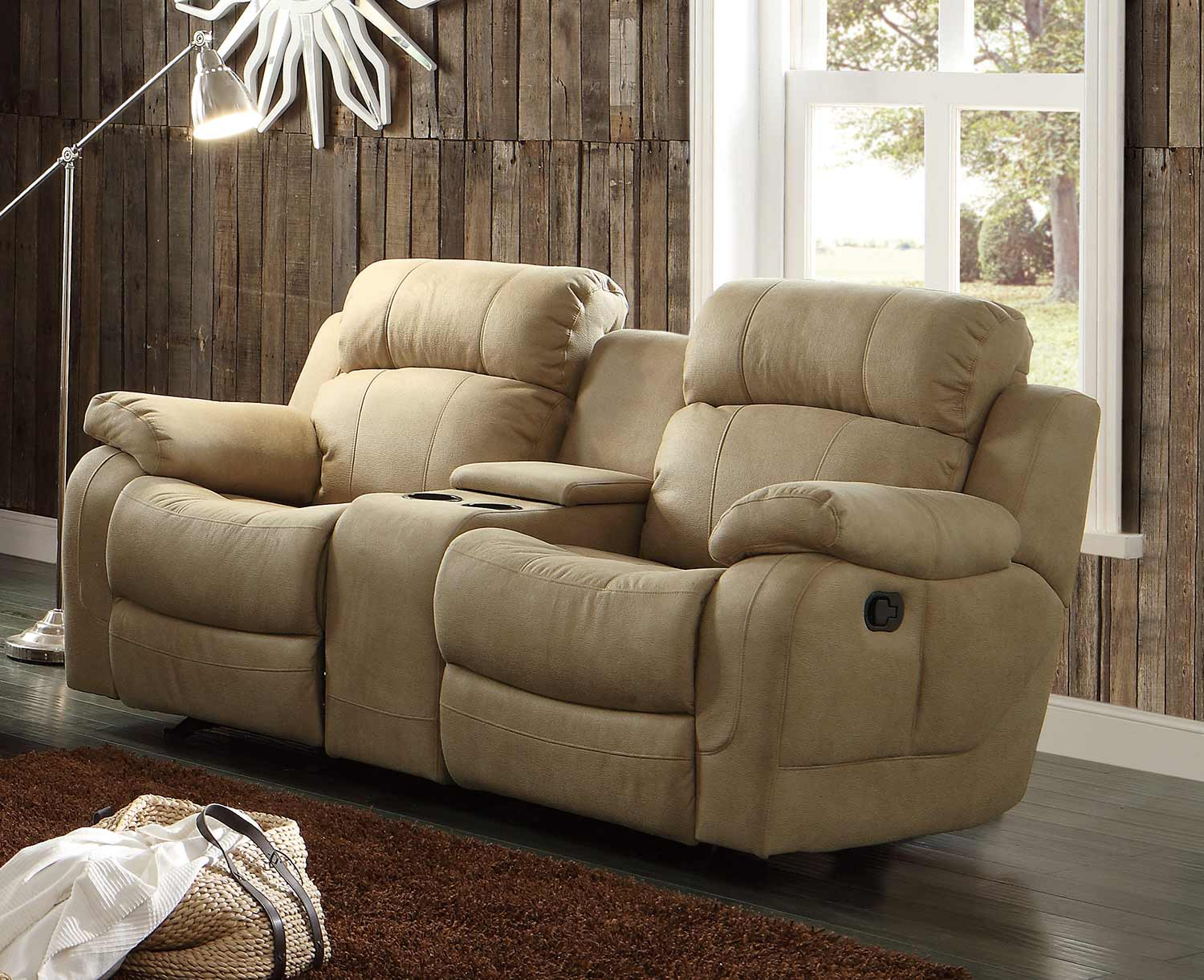 Homelegance Marille Double Glider Reclining Love Seat With