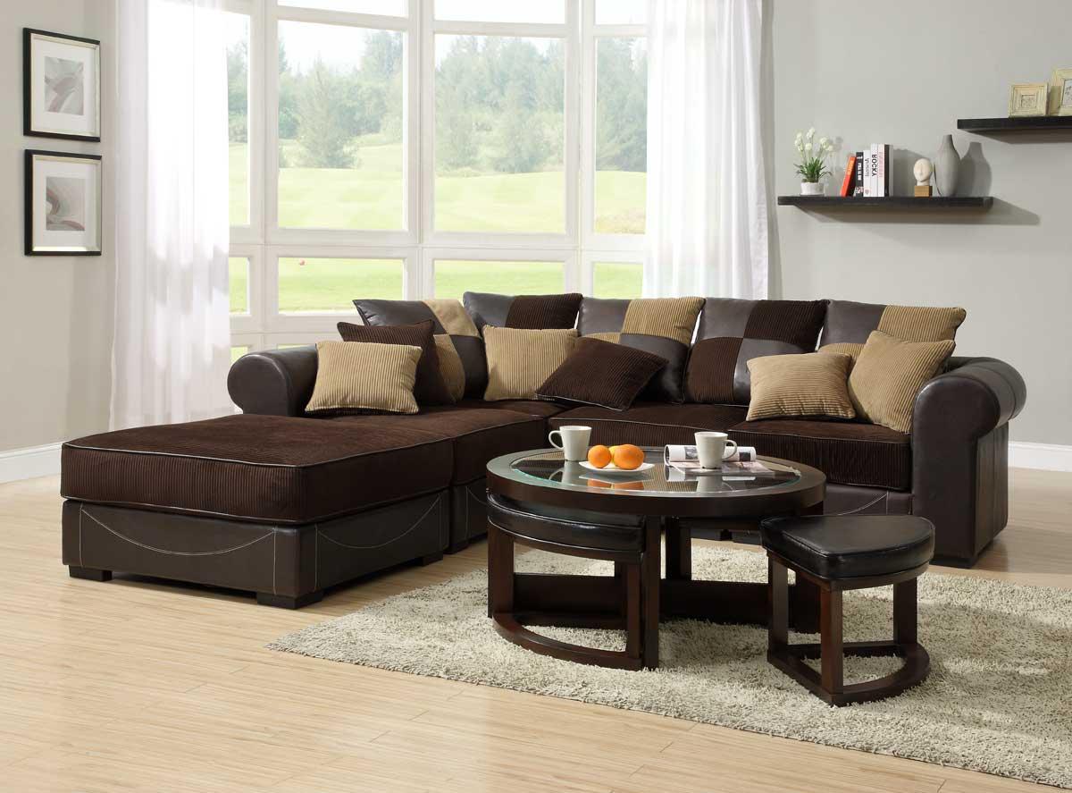 Homelegance Lamont Modular Sectional Sofa Set A Chocolate Corduroy And Dark Brown Bi Cast