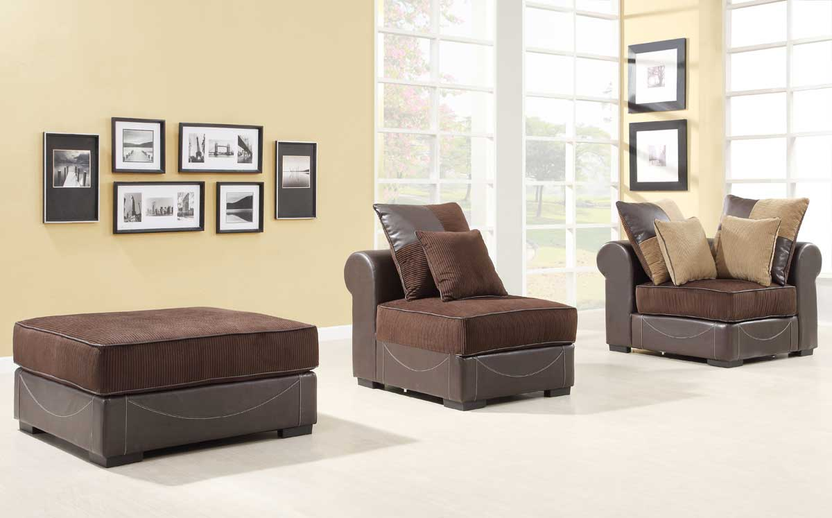 homelegance lamont modular sectional sofa set a chocolate corduroy and dark brown bicast