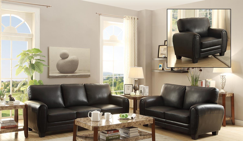 Homelegance Rubin Sofa Set - Black