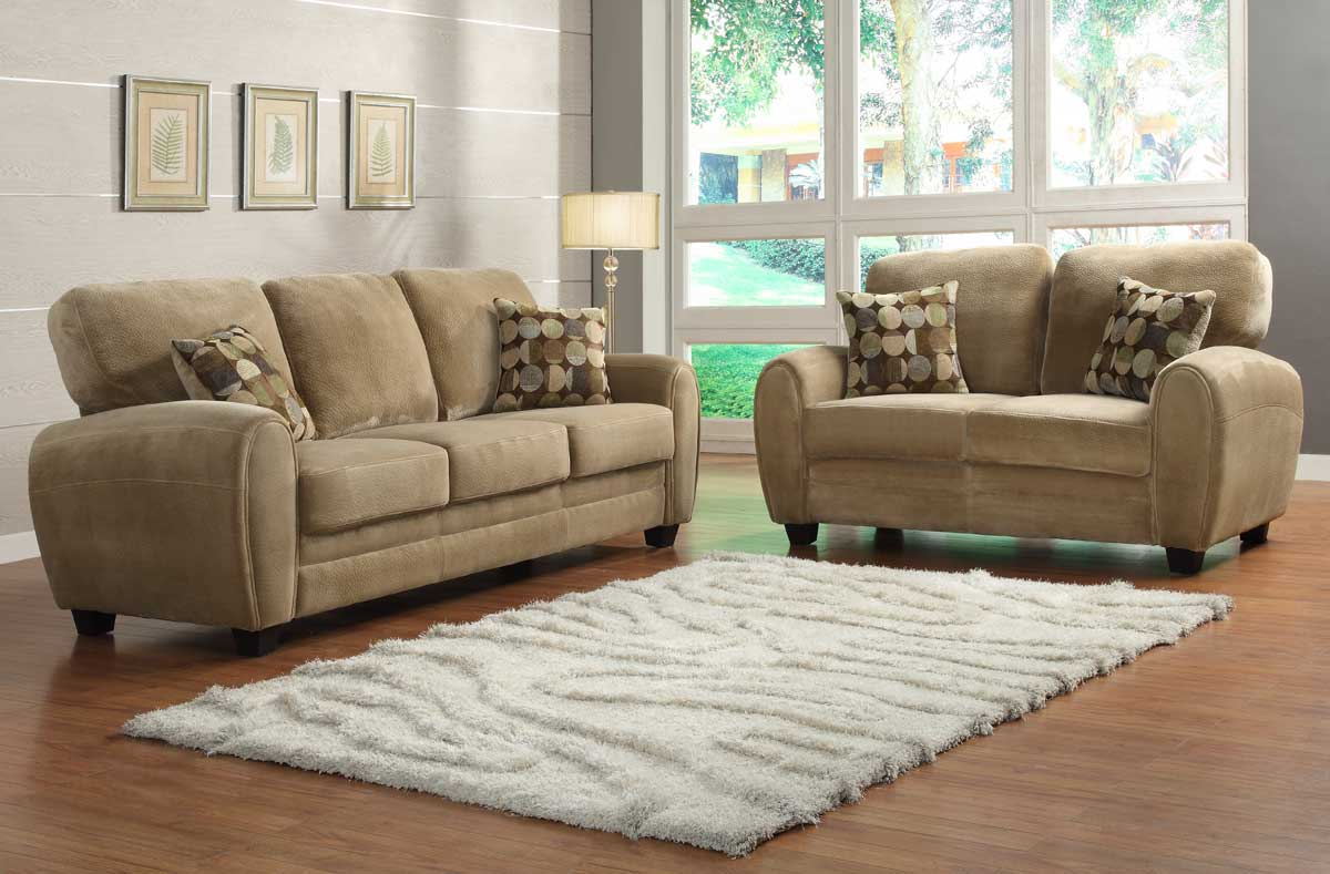 Homelegance rubin sofa set brown textured microfiber for Living room sofa sets