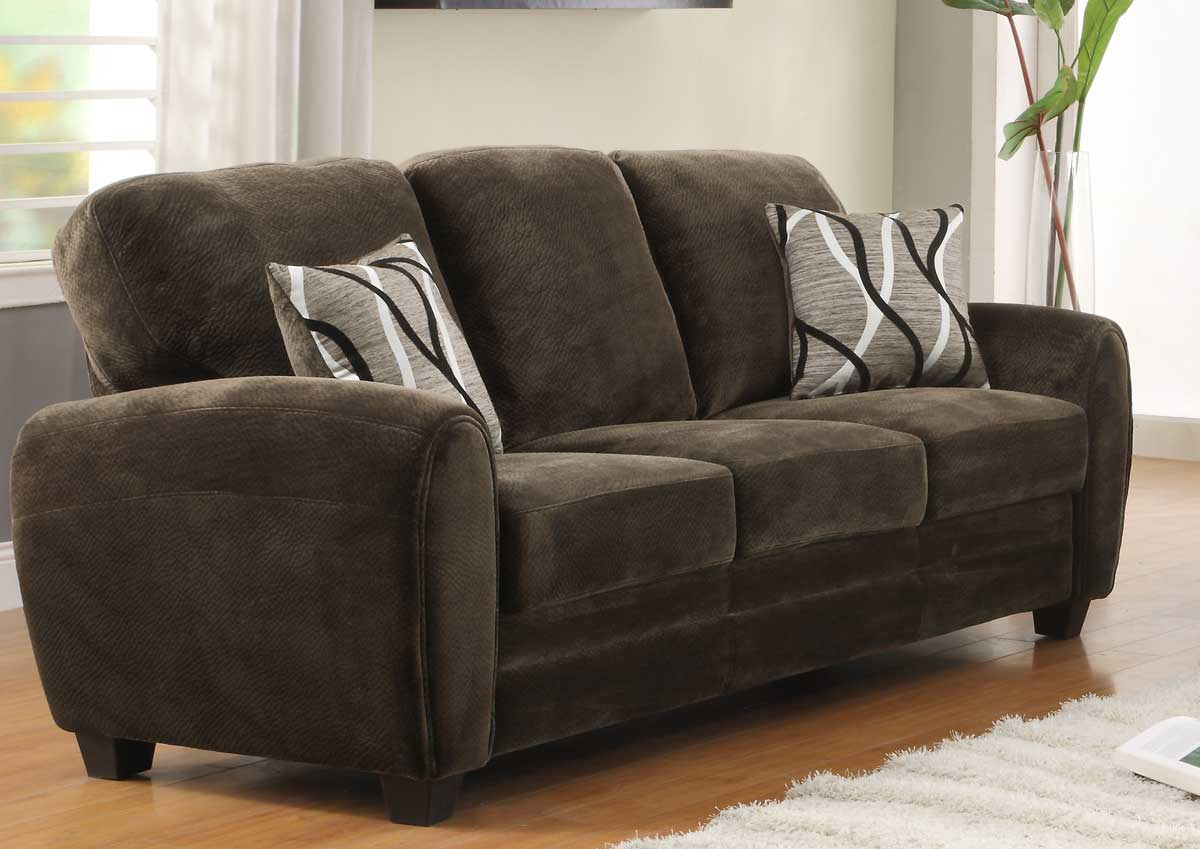 Rubin Sofa - Chocolate Textured Microfiber - Homelegance