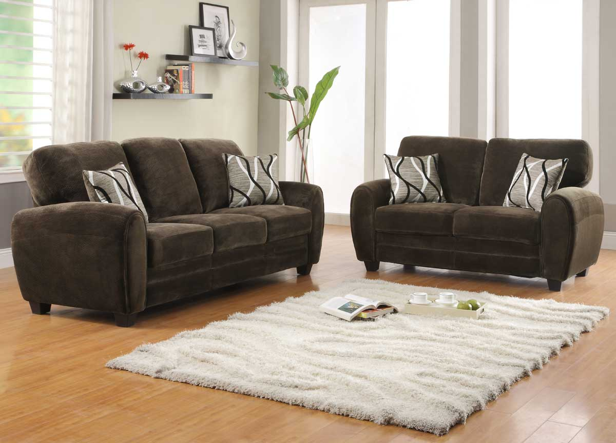 Homelegance rubin sofa set chocolate textured microfiber - Microfiber living room furniture sets ...