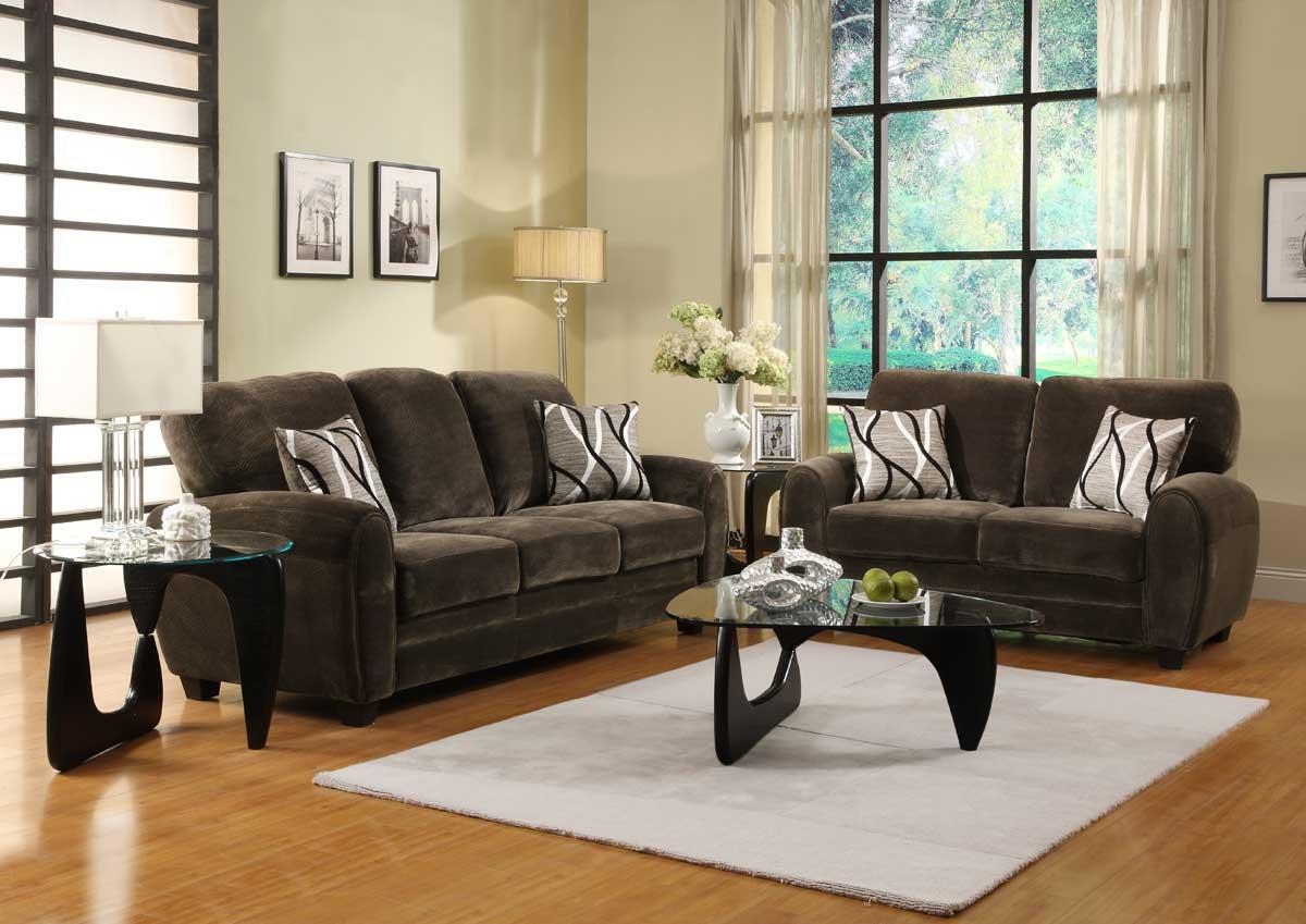 Homelegance Rubin Sofa Set - Chocolate Textured Microfiber