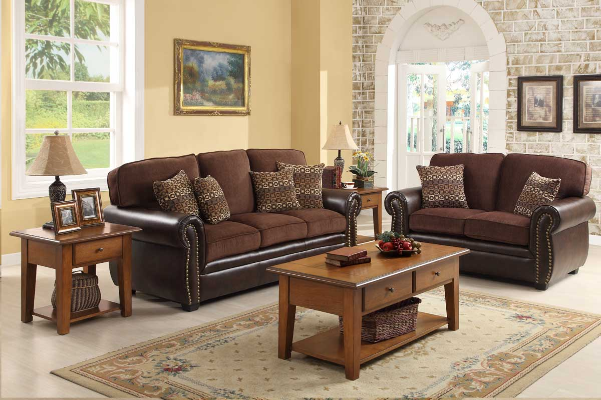 Homelegance Beckstead Sofa Set Chocolate Chenille And Dark Brown Pu