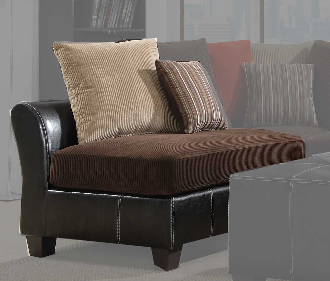 Homelegance besty modular sectional sofa set chocolate for Brown corduroy couch