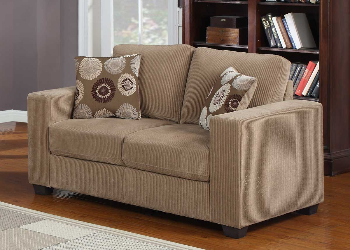 Homelegance paramus sofa set brown corduroy u9738 3 at for Brown corduroy couch