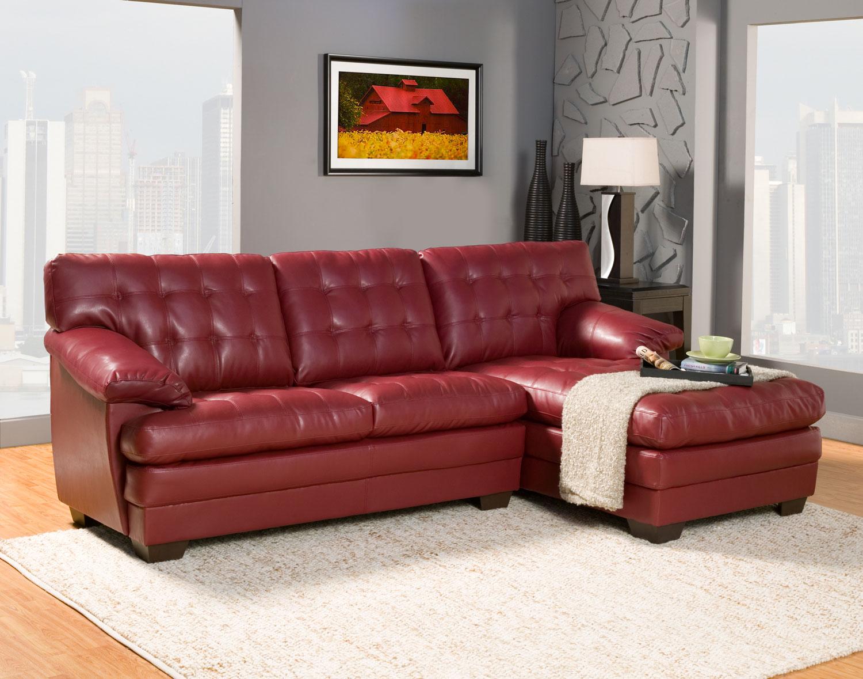 homelegance brooks sectional sofa set red bonded leather u9739red sect at. Black Bedroom Furniture Sets. Home Design Ideas