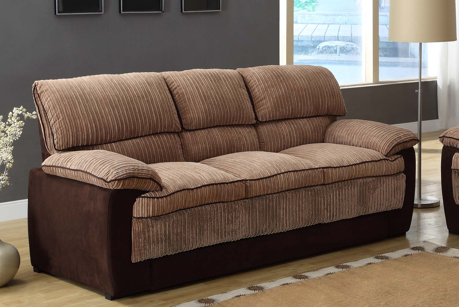Homelegance mccollum sofa set brown corduroy and microfiber u9746 3 Brown microfiber couch and loveseat