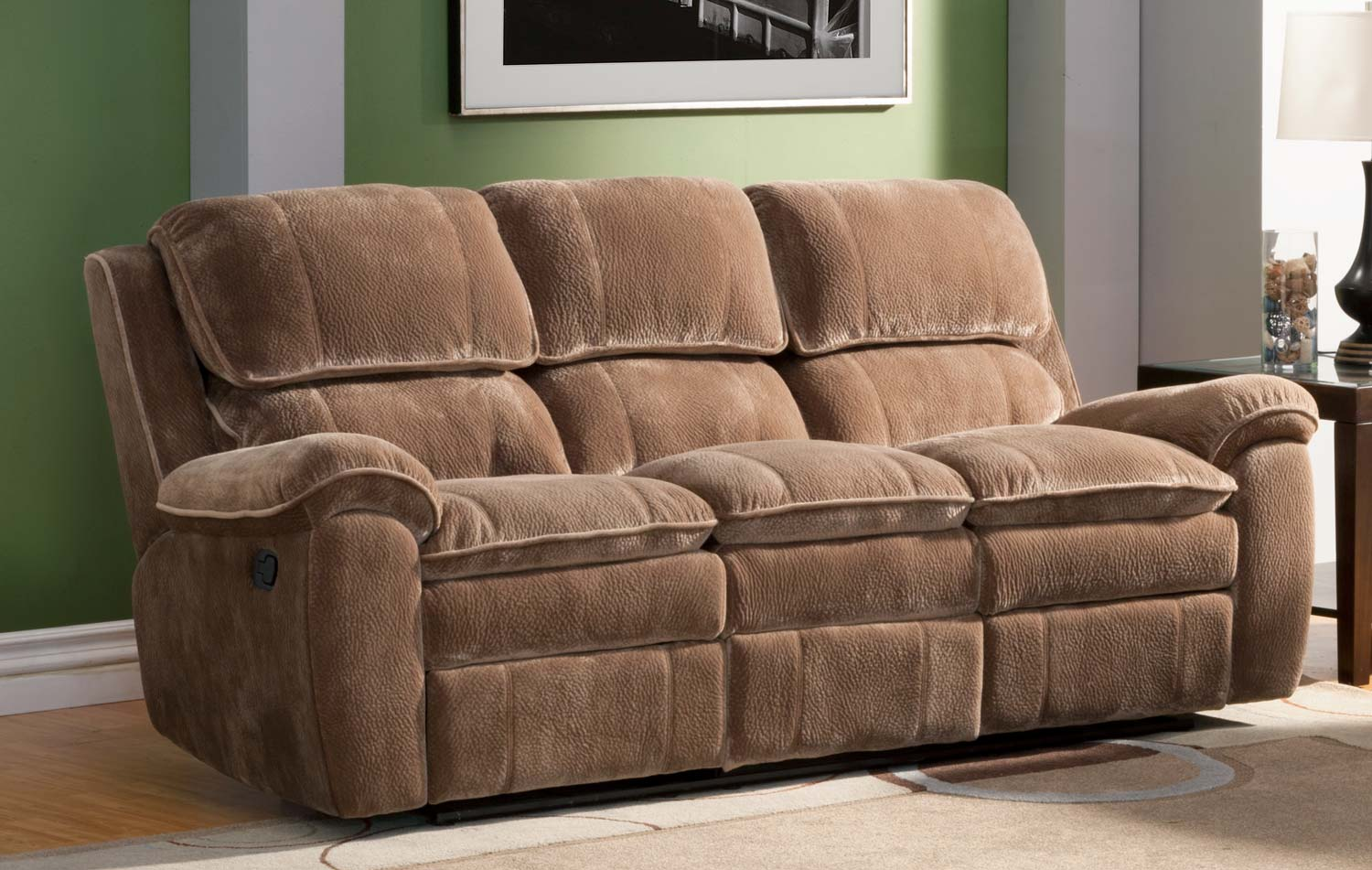 Homelegance reilly reclining sofa set brown textured plush microfiber u9766cp 3 at Brown microfiber couch and loveseat