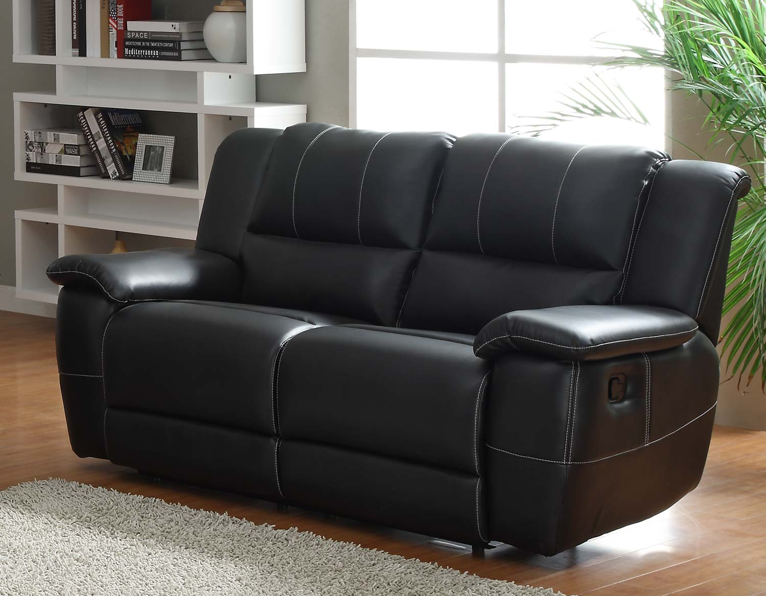 Homelegance cantrell reclining sofa set black bonded leather match u9778blk 3 at Leather loveseat recliners
