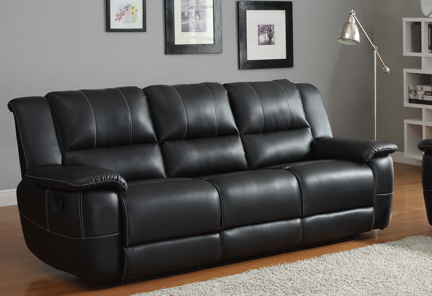 homelegance cantrell sofa double recliner black bonded leather match 9778blk 3 at. Black Bedroom Furniture Sets. Home Design Ideas